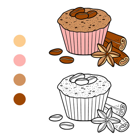 brownie: Coloring book for chidlren, vector cupcake with coffee beans