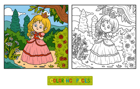 Coloring Book For Children Little Princess With A Flower In The Garden Stock Vector