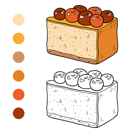 coloration: Coloring book for children, vector cheesecake with a cherry berries Illustration