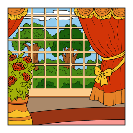 castle interior: Vector color background. Room of the castle with a big garden outside the window Illustration