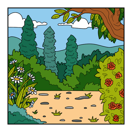 meadow: Vector illustration, natural background. Blooming garden, a sunny meadow in the woods Illustration
