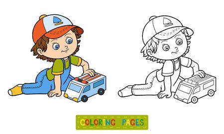 livre à colorier pour les enfants. Petit garçon joue avec la voiture d'ambulance