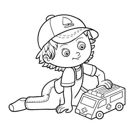 infancy: Coloring book for children. Little boy plays with ambulance car