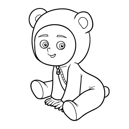black boys: Coloring book for children. Little boy in a bear suit