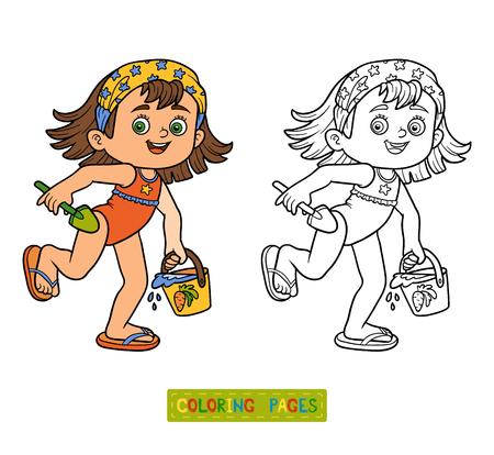 Libro De Colorante Para Los Niños. Niña Con Un Paraguas Bajo La ...