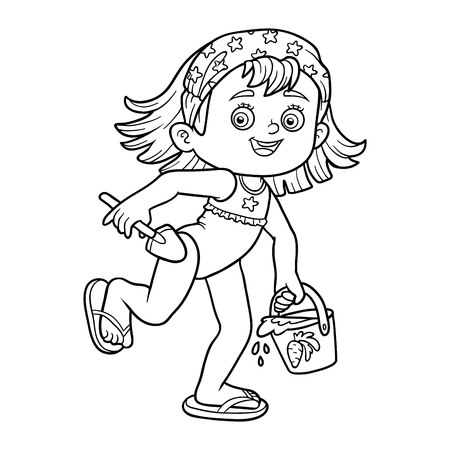 coloration: Coloring book for children. Little girl with a bucket and shovel on the beach Illustration
