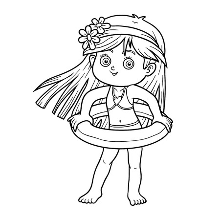 little girl beach: Coloring book for children. Little girl with lifebuoy on the beach