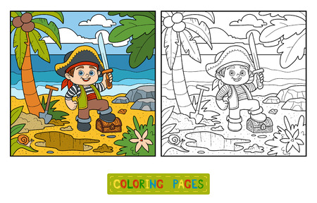 toy chest: Coloring book for children. Pirate and treasure chest on a tropical island Illustration