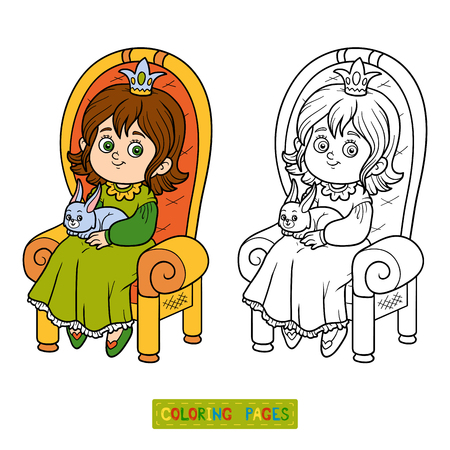 royal person: Coloring book for children, young princess seated on a throne with the bunny in hands Illustration