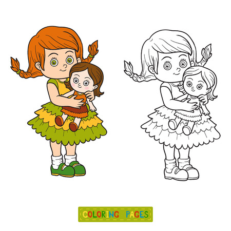 coloration: Coloring book for children. Little girl with a doll