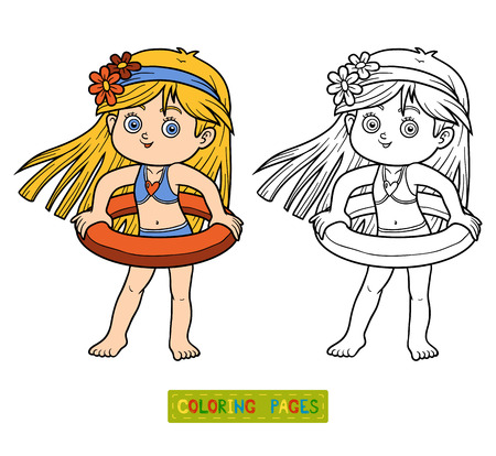 colorless: Coloring book for children. Little girl with lifebuoy on the beach