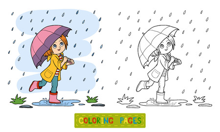Coloring book for children. Girl running with an umbrella in the rain