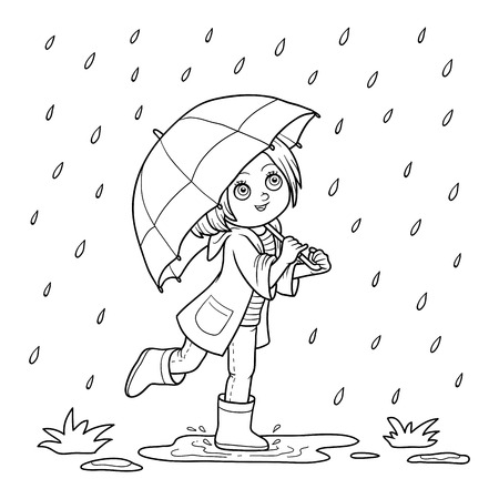 coloration: Coloring book for children. Girl running with an umbrella in the rain