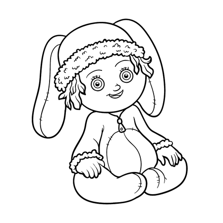 colorless: Coloring book for children. Little girl in a rabbit suit Illustration