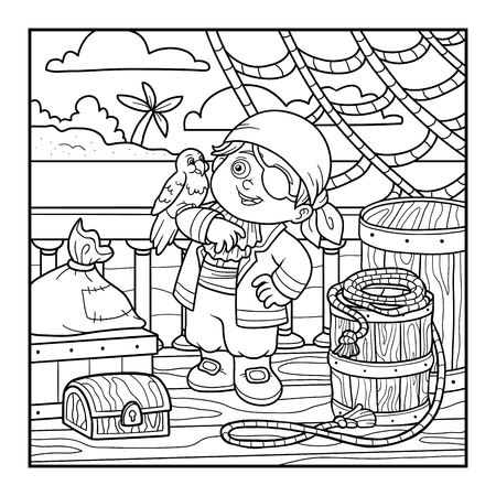 treasure hunt: Coloring book for children. Pirate and Parrot are on the deck of a ship