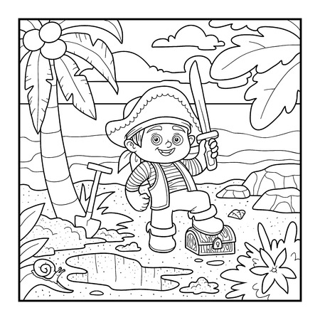 Coloring book for children. Pirate and treasure chest on a tropical island Illustration