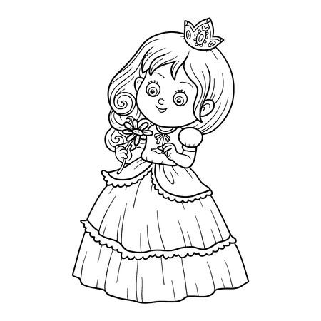 Libro da colorare per bambini, piccola principessa con un fiore