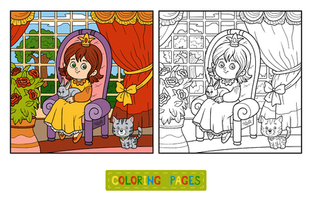 castle interior: Coloring book for children. Little princess sitting on a throne with a rabbit in his hands. Room of the castle with a big garden outside the window