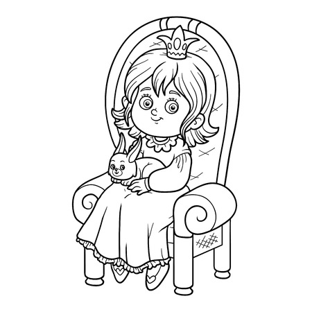 seated: Coloring book for children, young princess seated on a throne with the bunny in hands Illustration