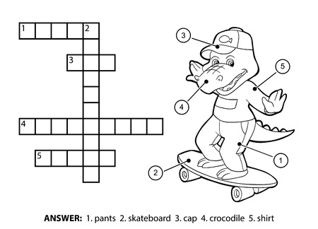 Vector colorless crossword, education game for children. Cheerful crocodile on a skateboard