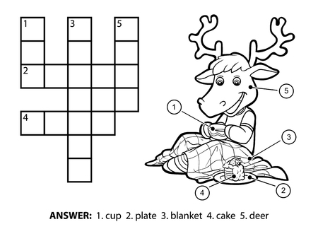 Vector colorless crossword, education game for children. Cute deer drinking tea and eating cake