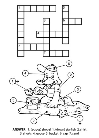 Vector colorless crossword, education game for children. Small goose sitting on the beach and building sand castles