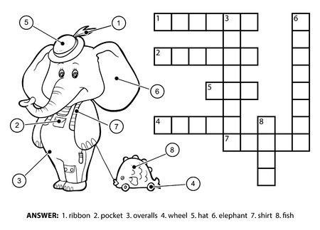 Vector colorless crossword, education game for children. Cute elephant with a toy on a string