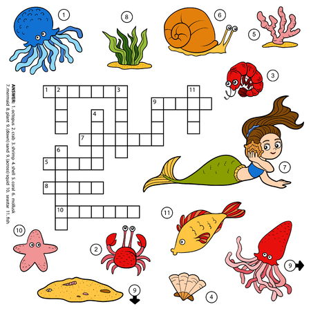 keywords bubble: Vector color crossword, education game for children about sea life