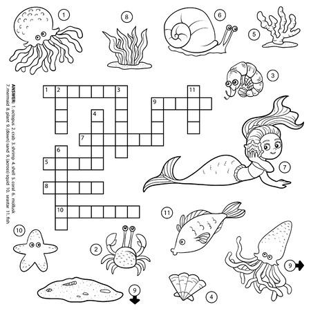 Vector kleurloos kruiswoordraadsel, onderwijs spel voor kinderen over het leven in de zee Stock Illustratie