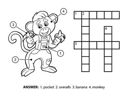 banana sheet: Vector colorless crossword, education game for children. Little monkey in denim overalls eating bananas Illustration