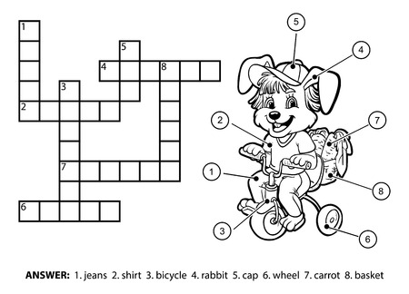 crossword: Vector colorless crossword, education game for children. Little rabbit riding a bicycle