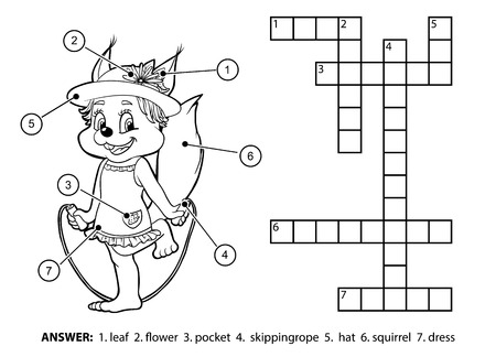 brainteaser: Vector colorless crossword, education game for children. Cute squirrel jumping rope