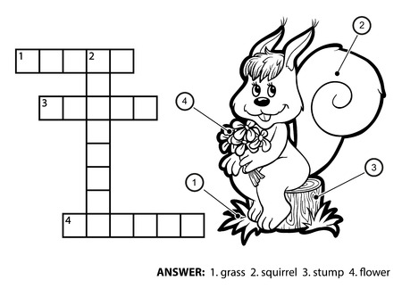 Vector colorless crossword, education game for children. Cute squirrel sitting on a tree stump