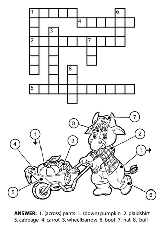 Vector colorless crossword, education game for children. Character bull gardener with a wheelbarrow full of vegetables
