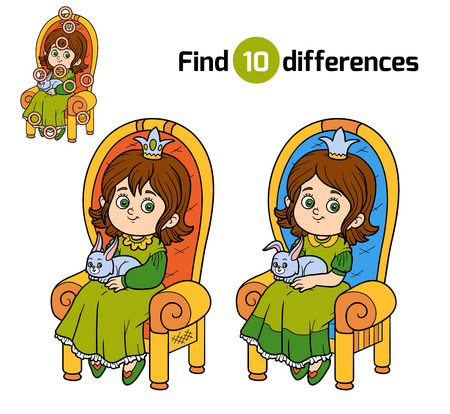 find: Find differences, education game for children, young princess seated on a throne with the bunny in hands
