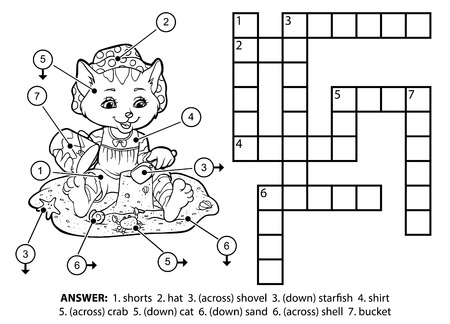 Vector colorless crossword, education game for children. Cute cat sitting on the beach and building sand castles