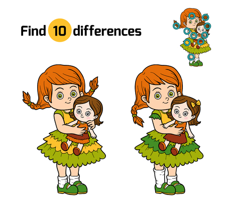guess: Find differences, education game for children. Little girl with a doll in hands