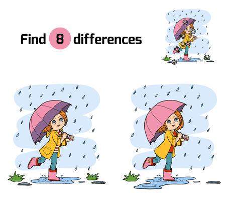 Trouvez les différences pour les enfants, l'éducation jeu. Fille courir avec un parapluie sous la pluie