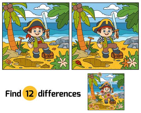 sombrero pirata: Encuentra las diferencias juego, la educación para los niños. Pirata y pecho de tesoro en una isla tropical Vectores