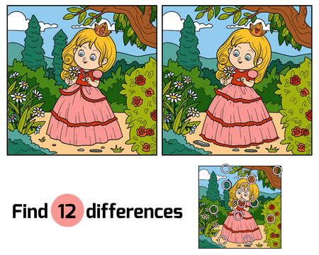 find: Find differences, education game for children, little princess with a flower in garden