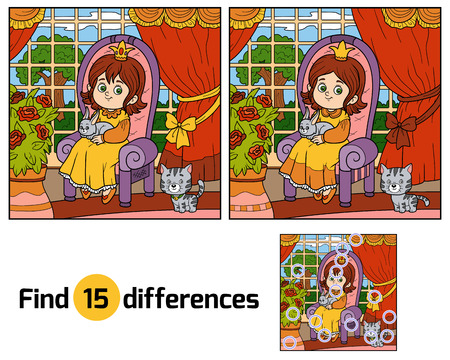 Find differences, education game for children. Little princess sitting on a throne with a rabbit in his hands. Room of the castle with a big garden outside the window