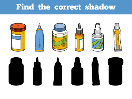 ointment: Find the correct shadow, education game for children. Vector color set of medical items