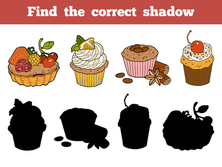 Find the correct shadow, education game for children. Vector color set with cakes and pastries