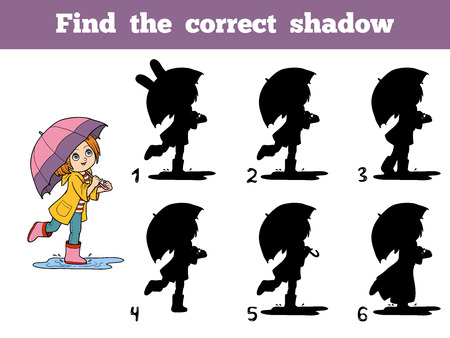 Find the correct shadow, education game for chidlren. Girl running with an umbrella in the rain