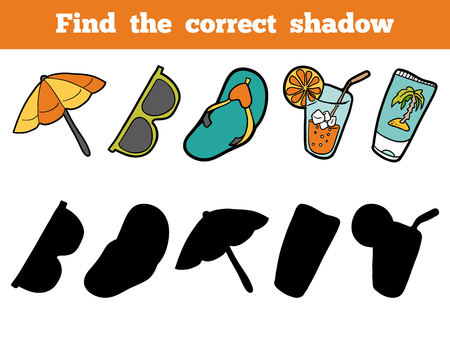 item: Find the correct shadow, education game for children. Colorful vector set of objects for a summer holiday Illustration