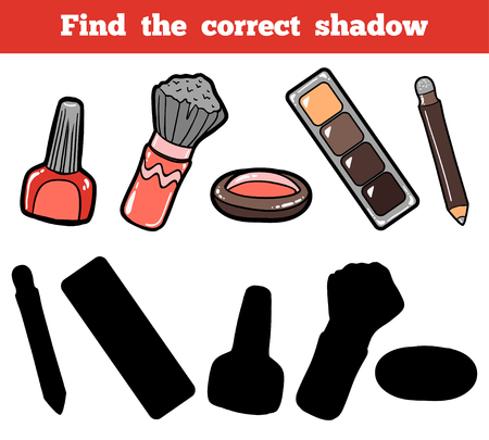 mental object: Find the correct shadow, education game for children. Vector color set of cosmetic objects Illustration