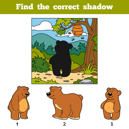 cartoon child: Find the correct shadow, education game for children. Find animal by shadow