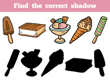 cone: Find the correct shadow, education game for children. Vector color set of ice-cream Illustration