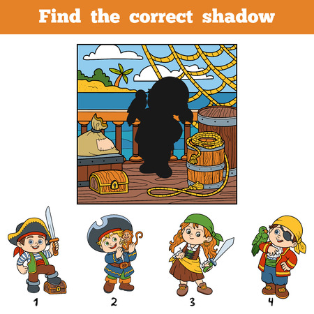 cartoon child: Find the correct shadow, education game for children. Find pirate by shadow Illustration