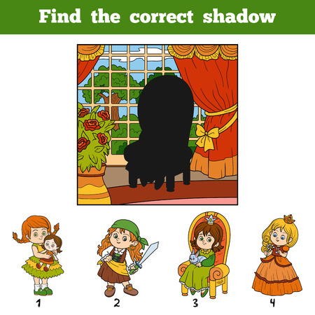 castle interior: Find the correct shadow, education game for children. Find girl by shadow